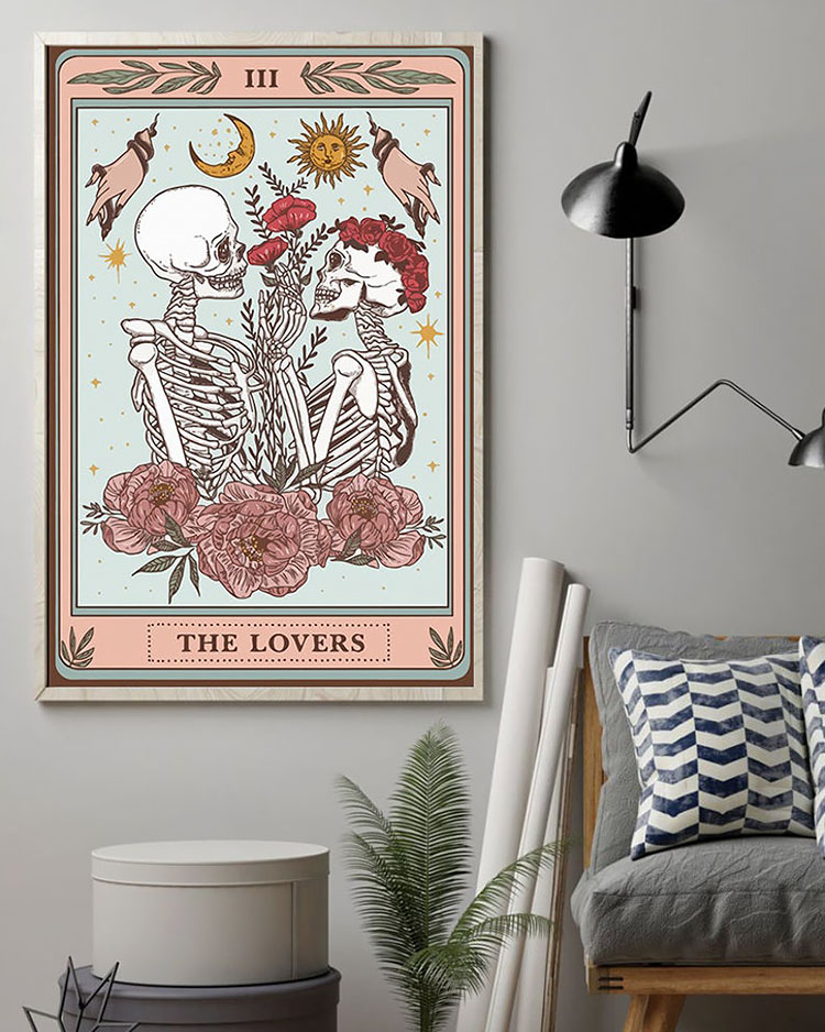 THE LOVERS SKELETON TAROT CARD