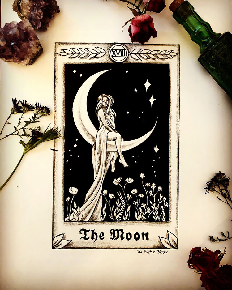 THE MOON TAROT ART