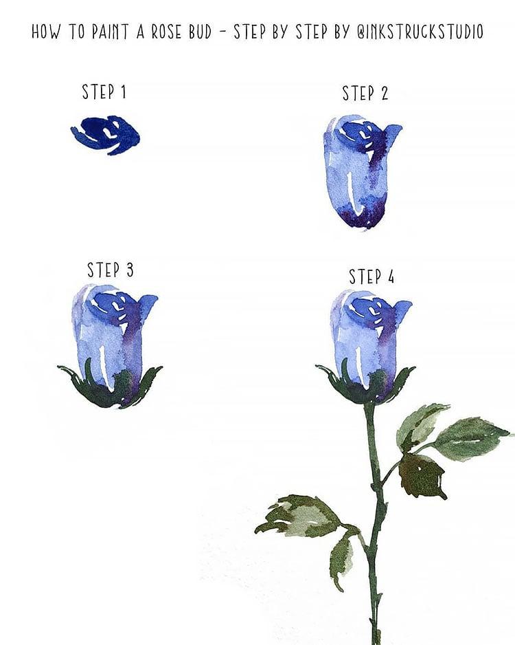 blue watercolor flower tutorial