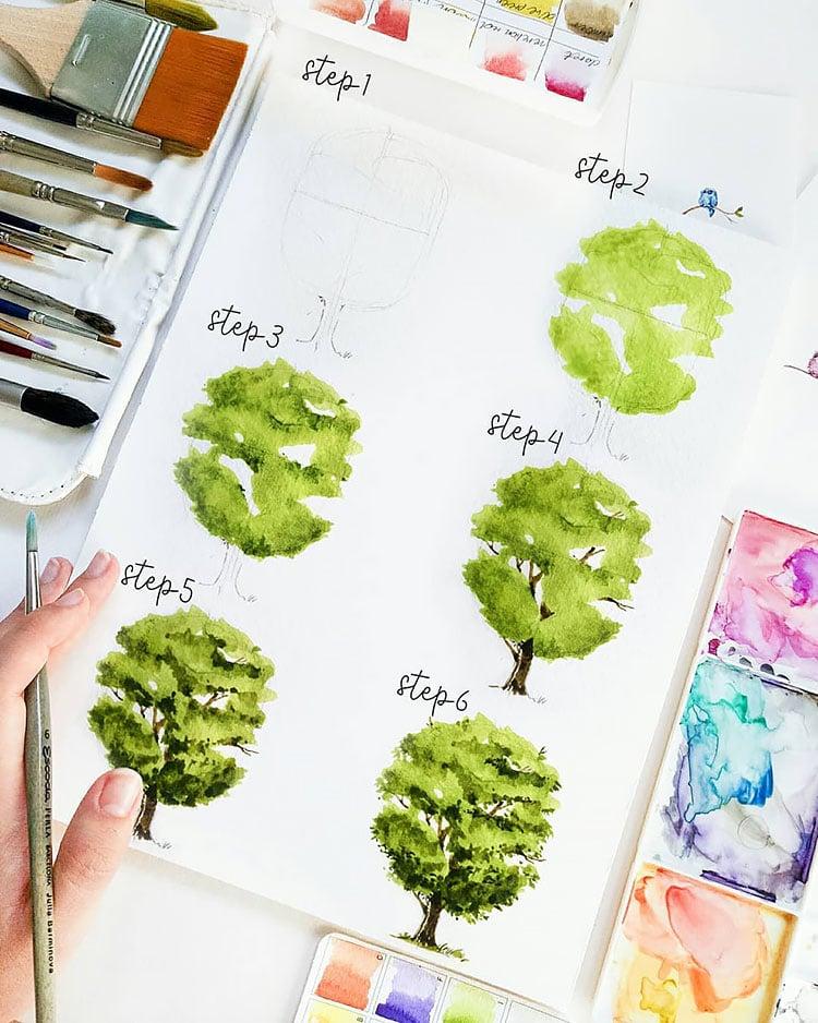 watercolor tree tutorial easy