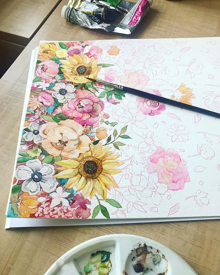 floral drawing with watercolor painting