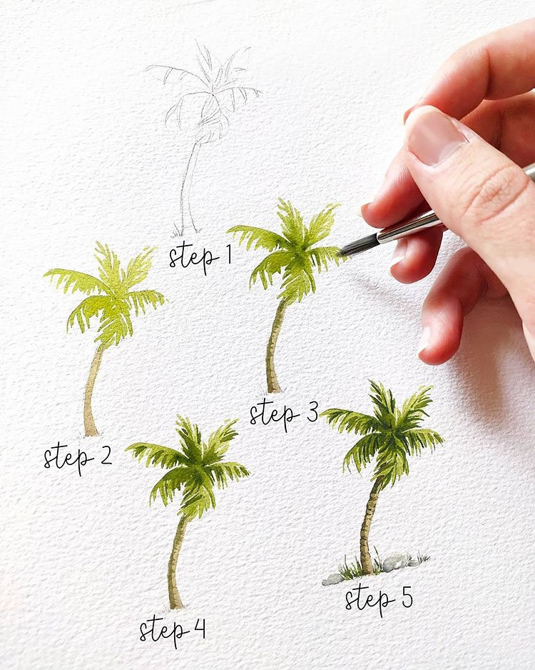 how to paint a palm tree