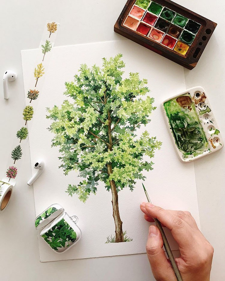 watercolor oak tree