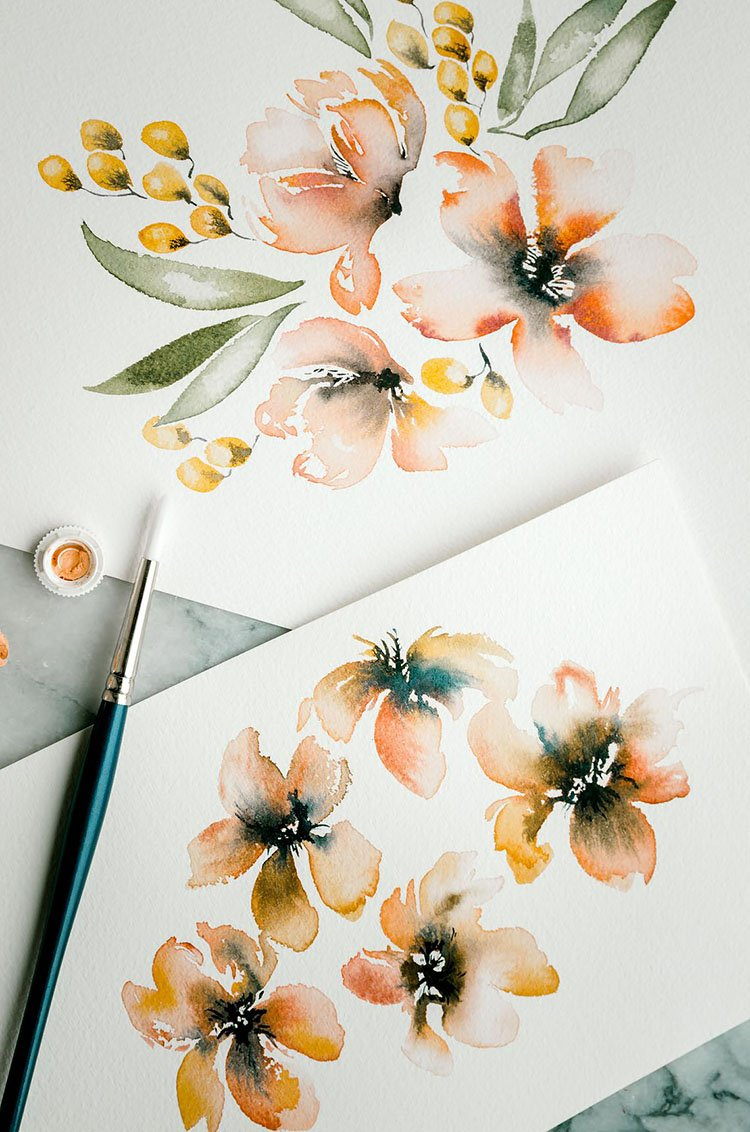 watercolor orange flower with yellow buds