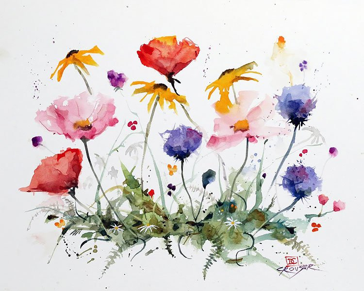 watercolor bright flowers painting