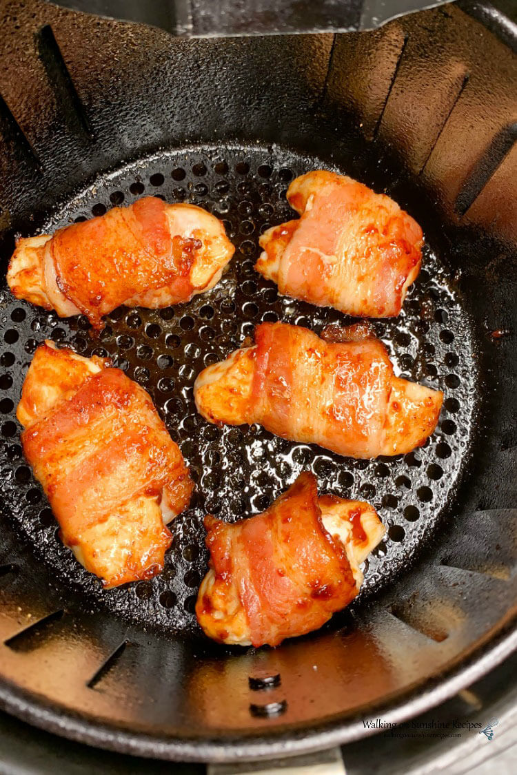 AIR FRYER BBQ CHICKEN WRAPPED IN BACON