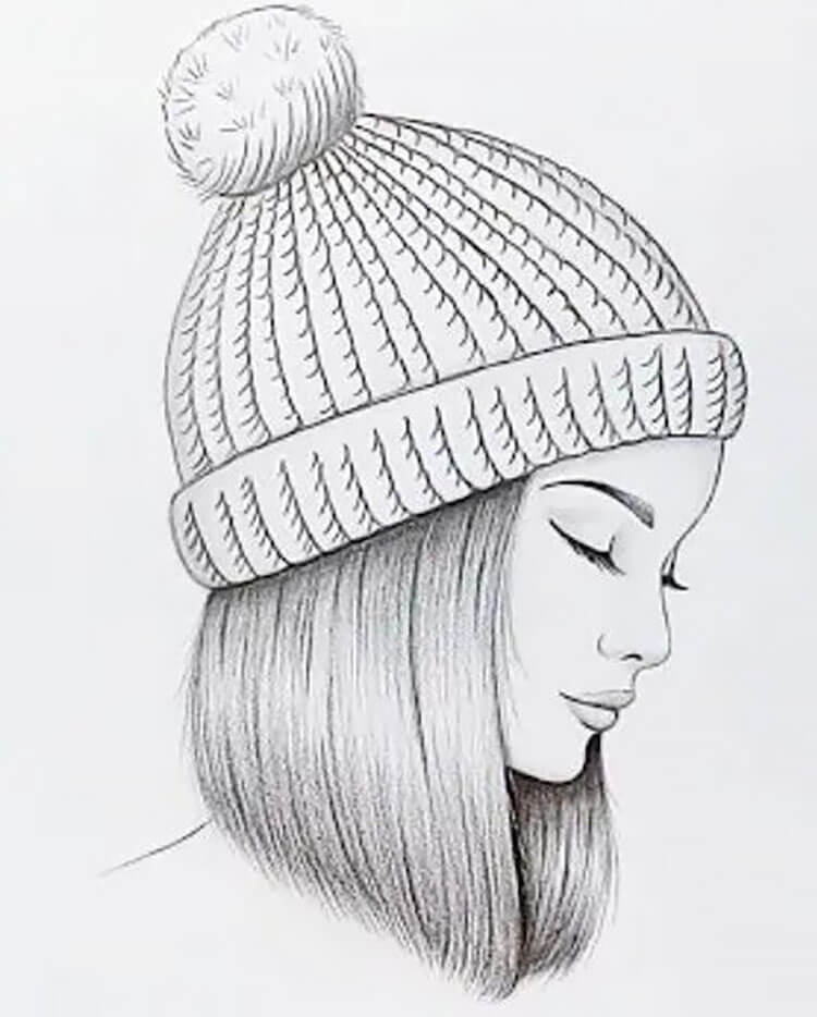 girl with beanie sketch