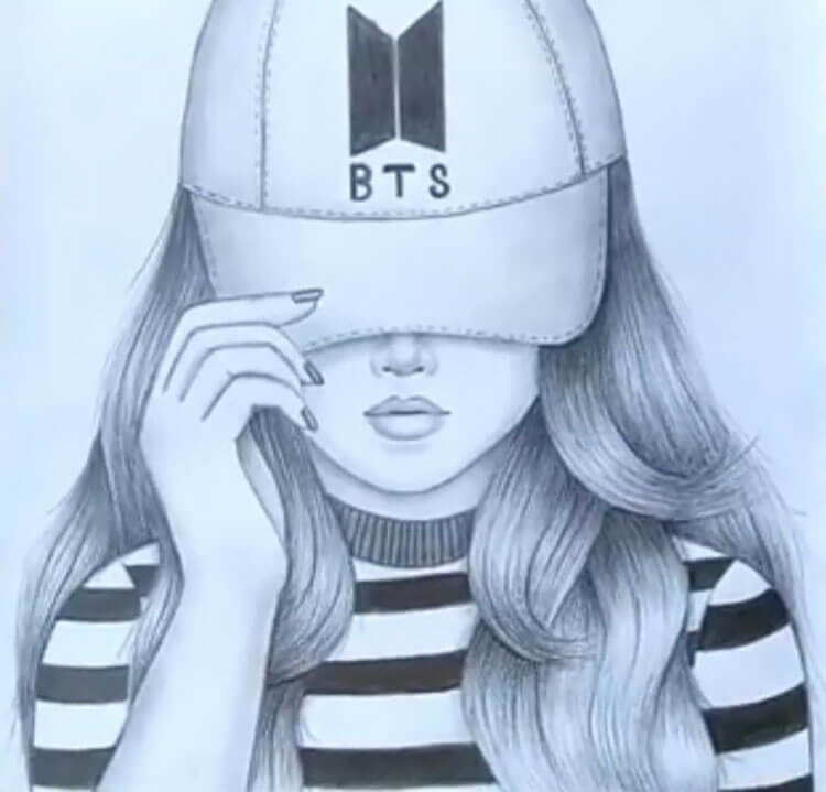 girl with bts hat drawing