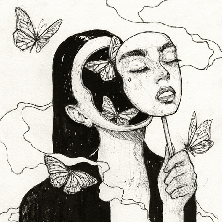 girl with face mask drawing