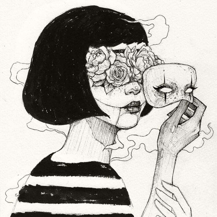 girl with flower eyes drawing