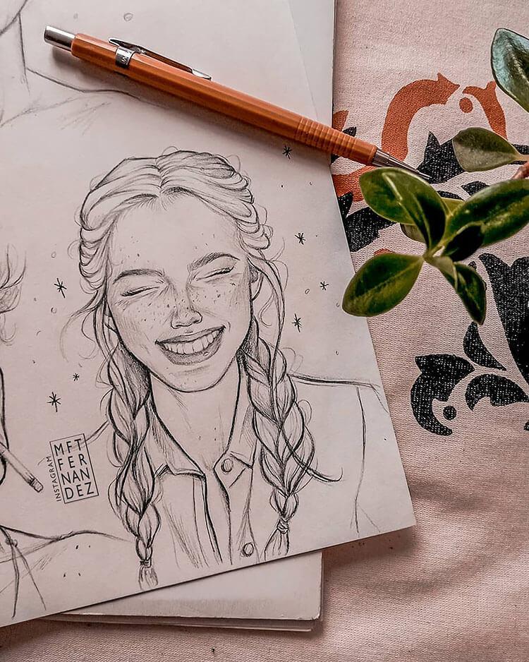 girl smiling sketch