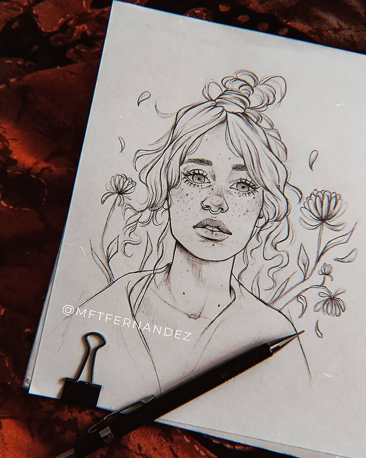 girl with nose ring sketch