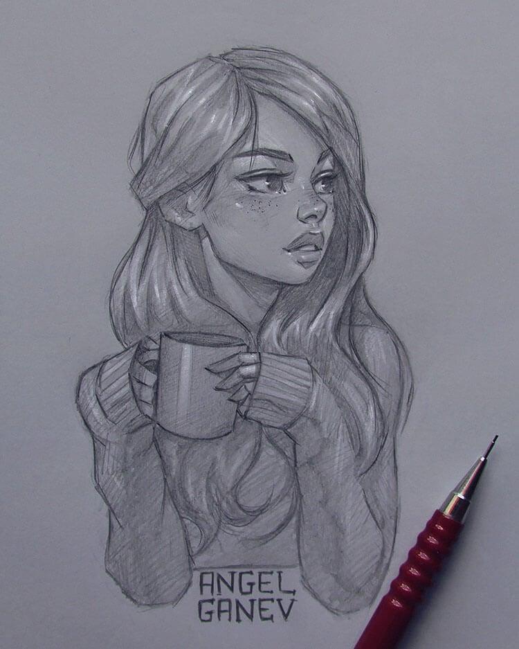 girl holding coffee sketch