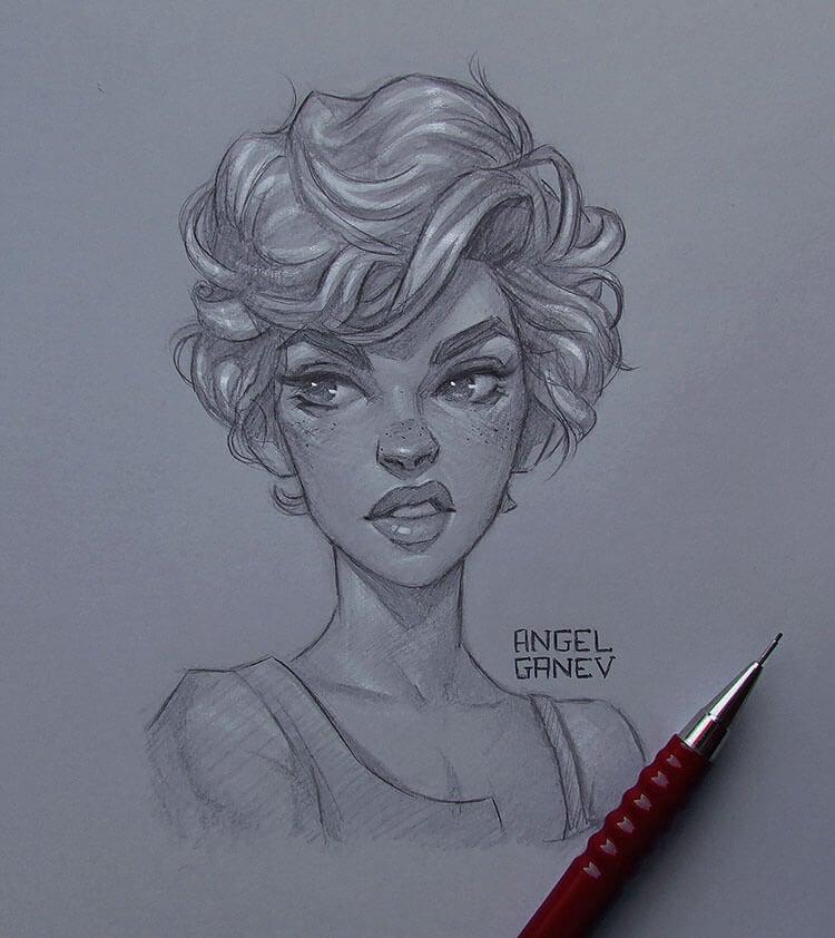 girl making annoyed face sketch