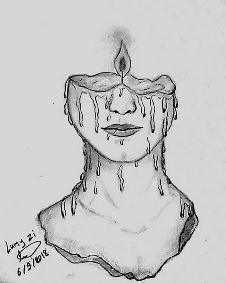 half face with candle sketch
