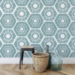 blue painted accent wall stencil