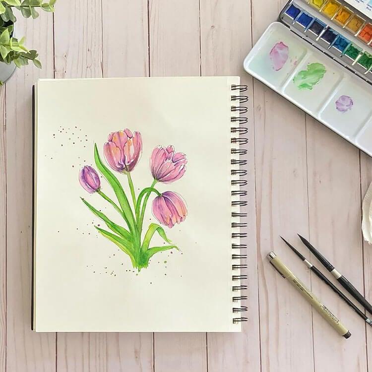 purple watercolor tulips