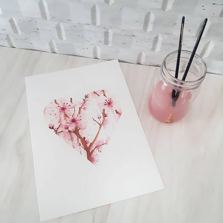 watercolor flowers in heart