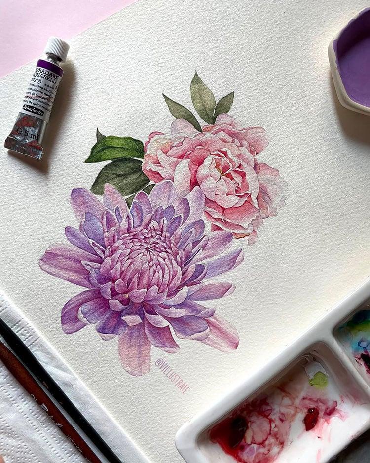 watercolor carnations