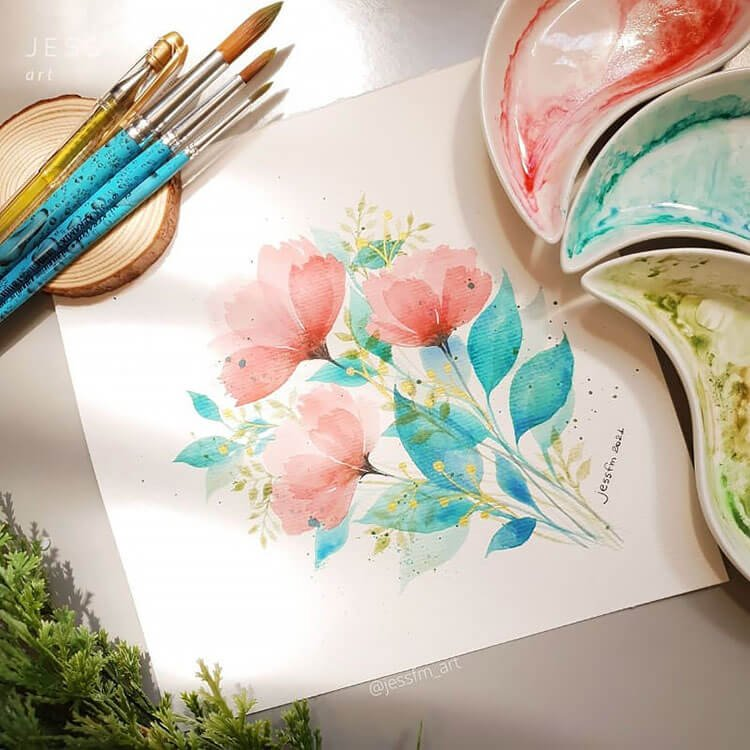 pink and blue watercolor flowers