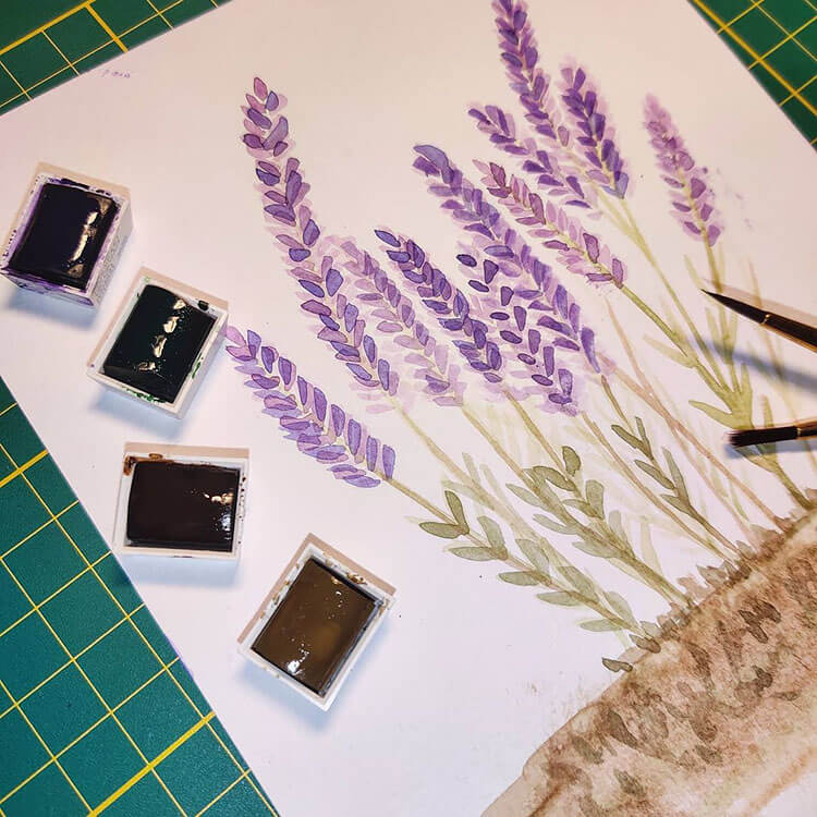 lavender watercolor flowers with soil