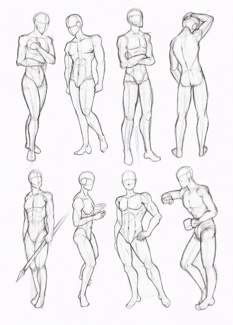 male body anatomy poses