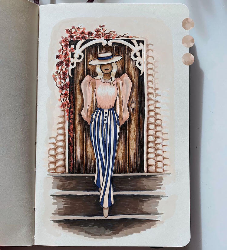 woman with pinstripe pants