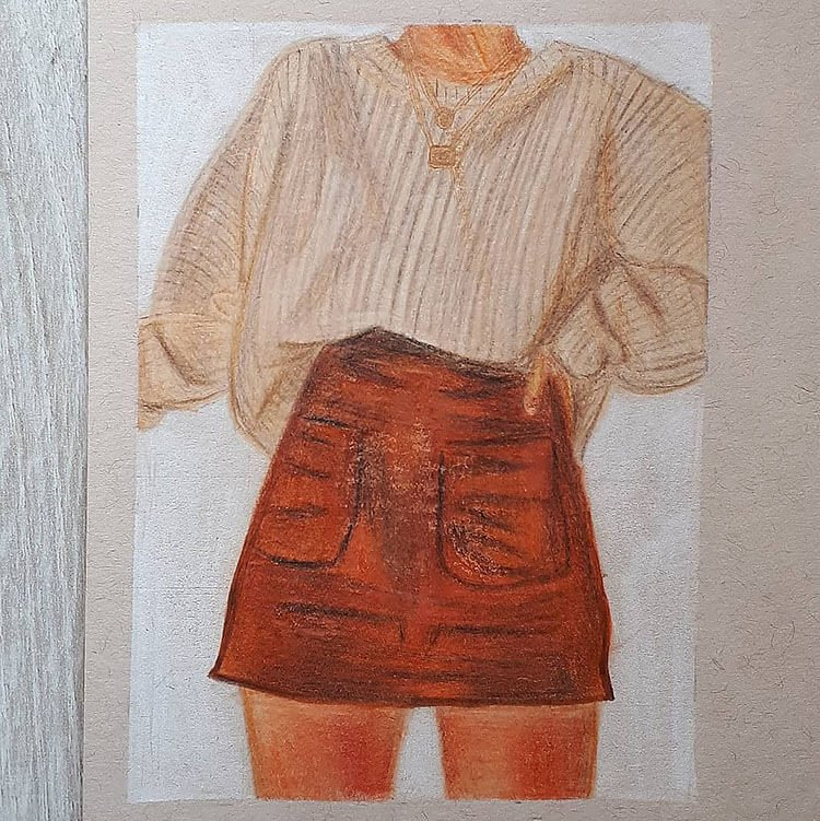 brow sweater with red skirt