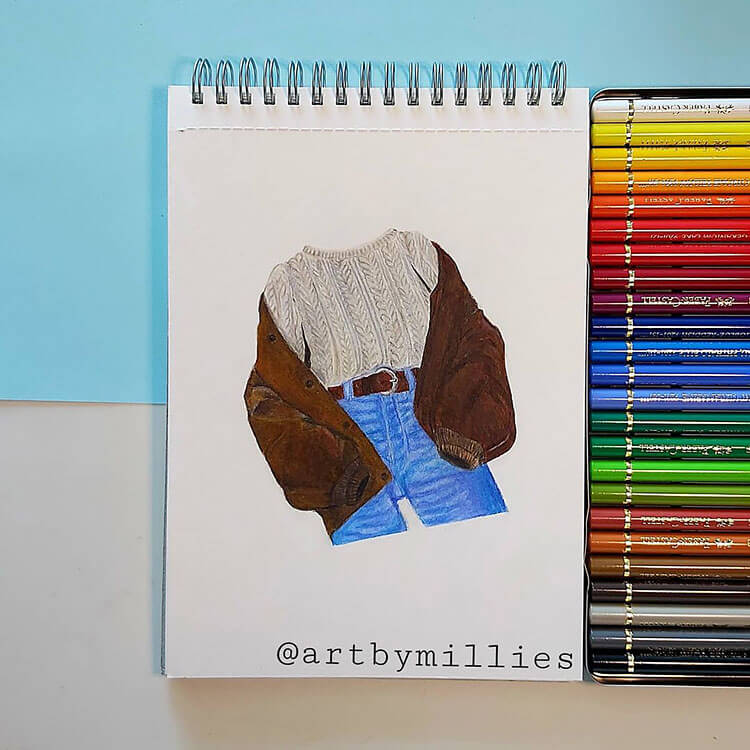 suede jacket with sweater and jeans