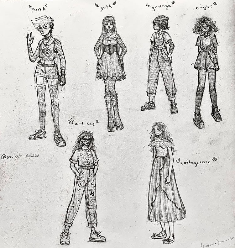 variety of girl outfits