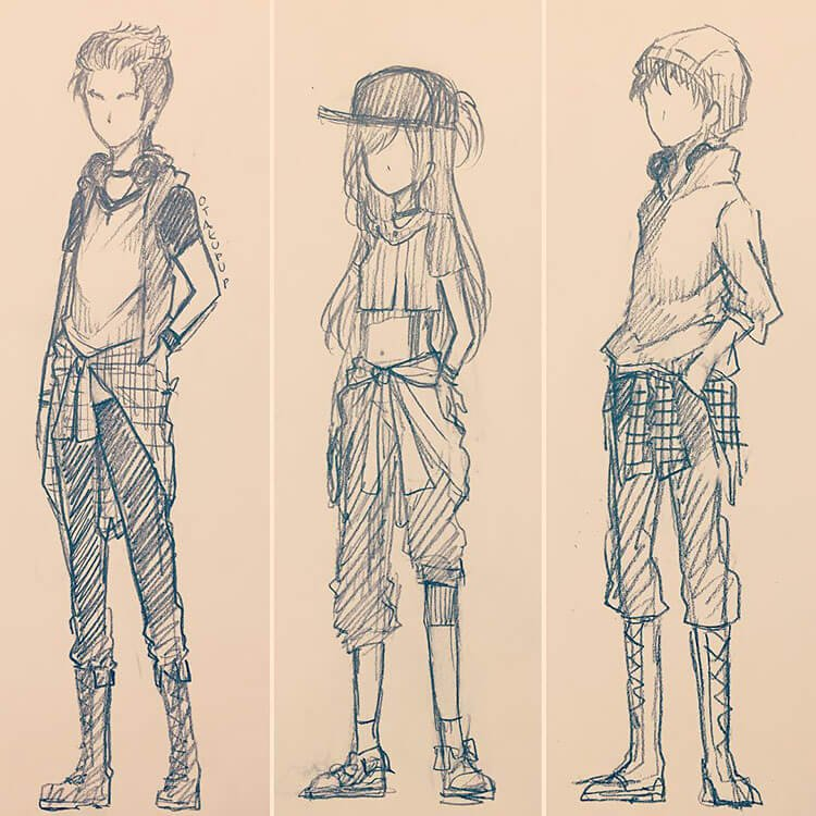 three different character outfits