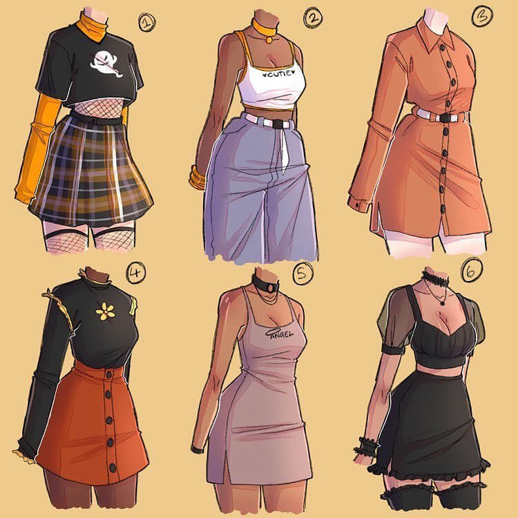 six different outfits illustrated