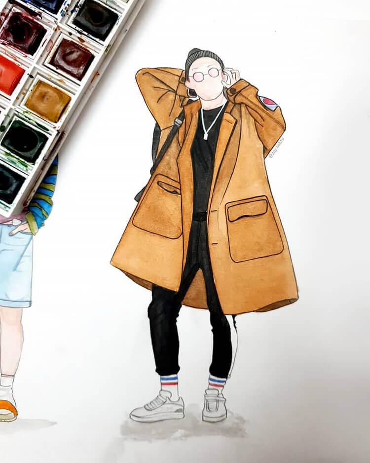 man with tan coat