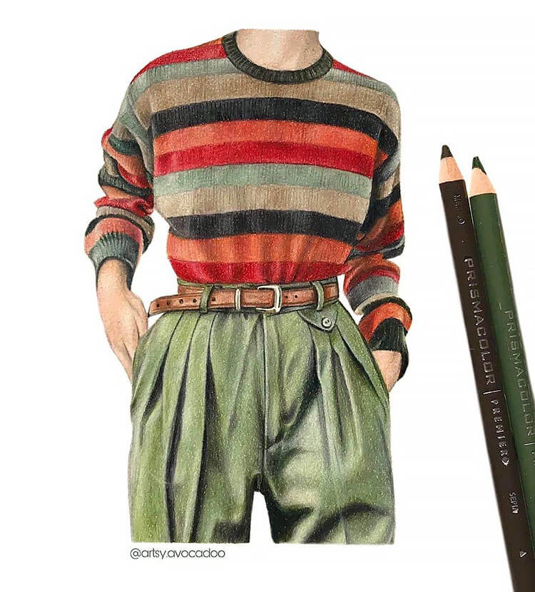 striped sweater with green pants