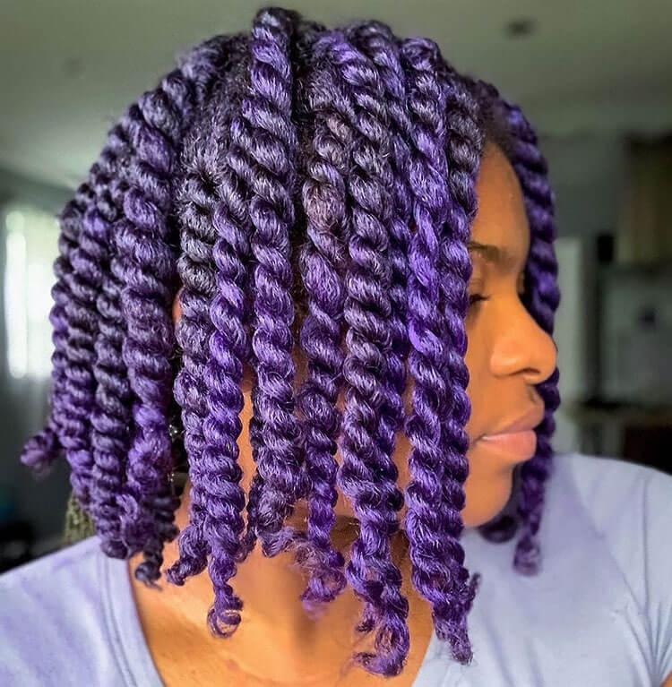 Senegalese Twist Hairstyles with purple hair dye