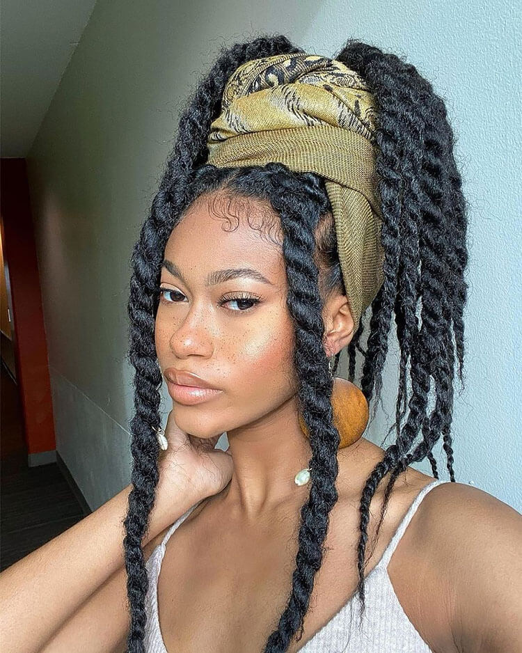 Senegalese Twist Hairstyles pulled up with scarf