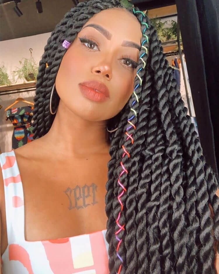 Senegalese Twist Hairstyles with rainbow string