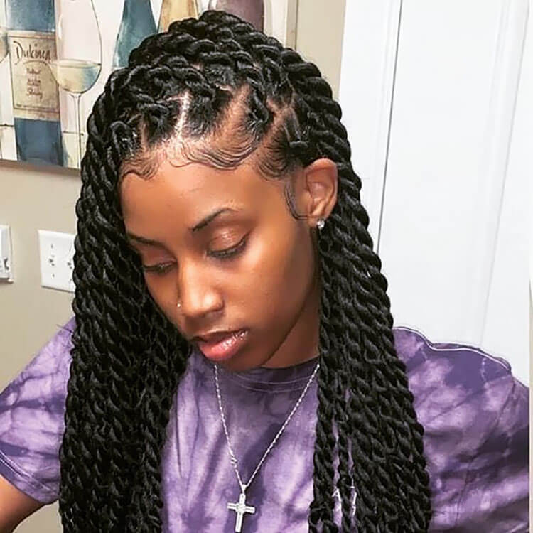Senegalese Twist Hairstyles with baby hairs
