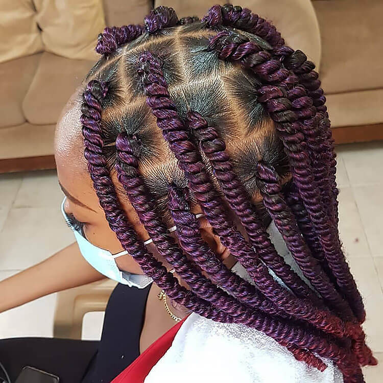 Senegalese Twist Hairstyles with purple twists