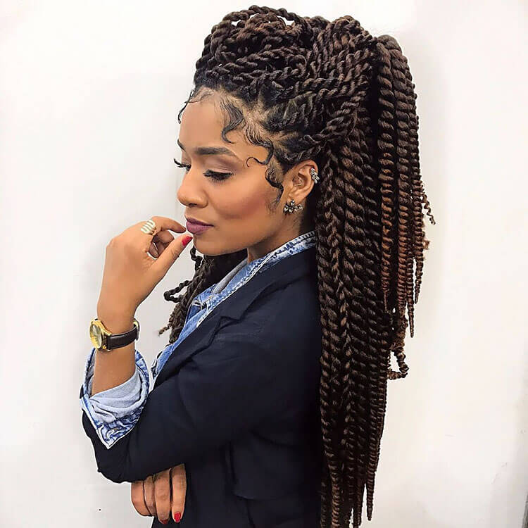 Senegalese Twist Hairstyles ponytail