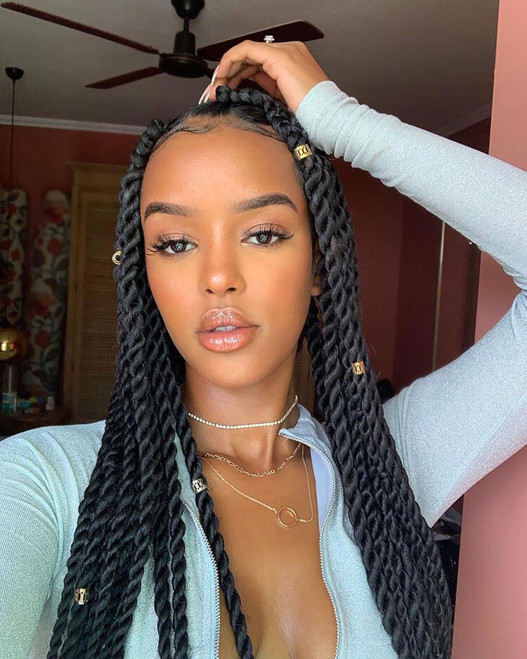Senegalese Twist Hairstyles with more gold beads