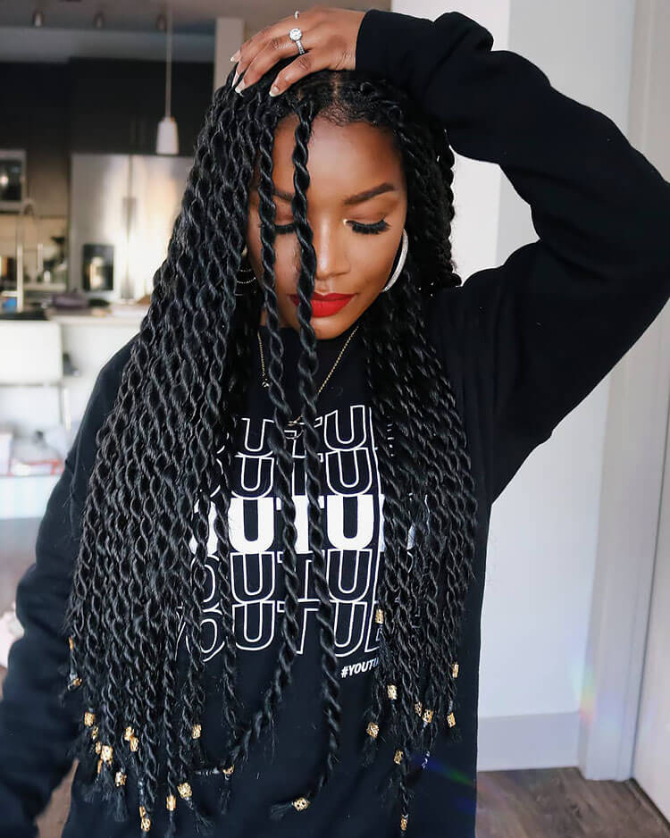 Senegalese Twist Hairstyles hanging down