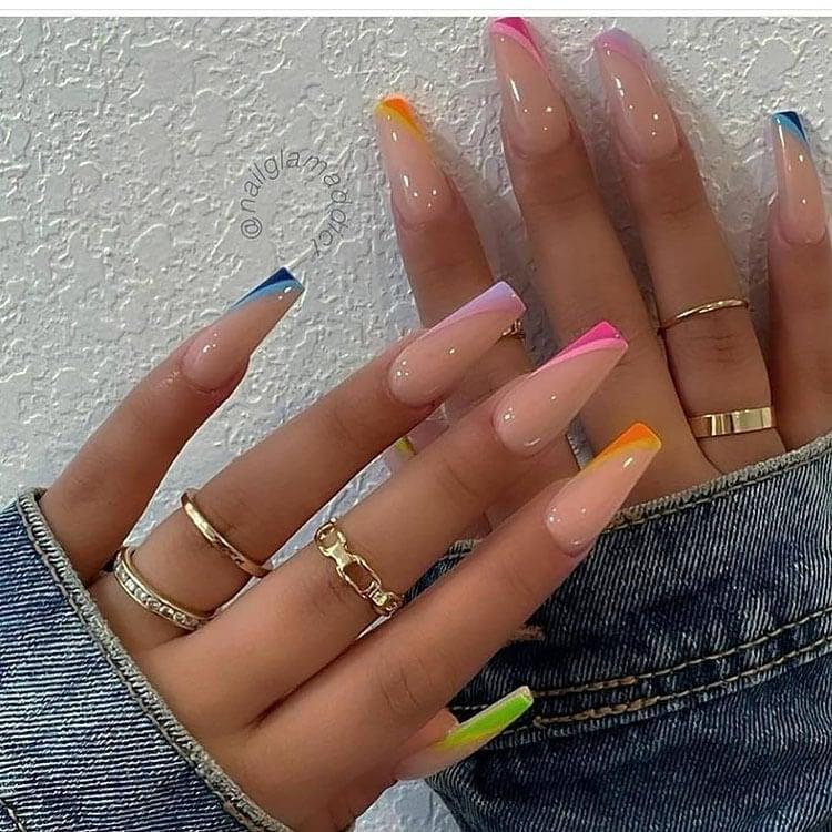 orange blue pink nails