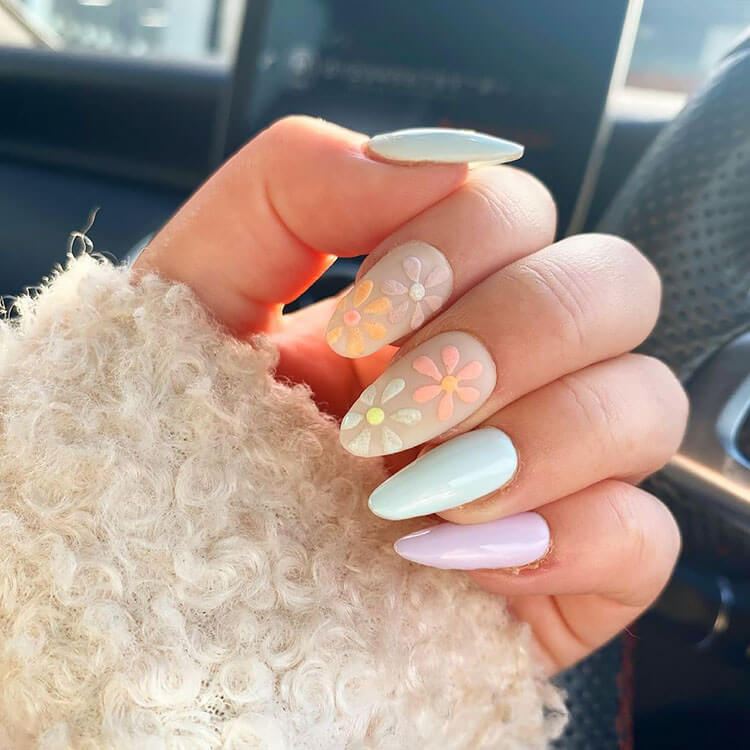easter nails with flowers