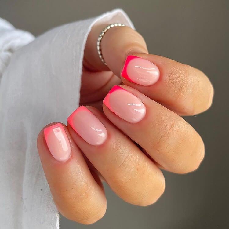short neon pink nails