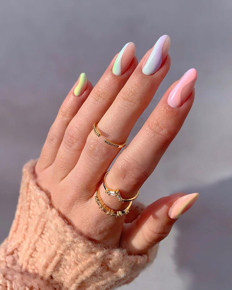 pink blue and green nails