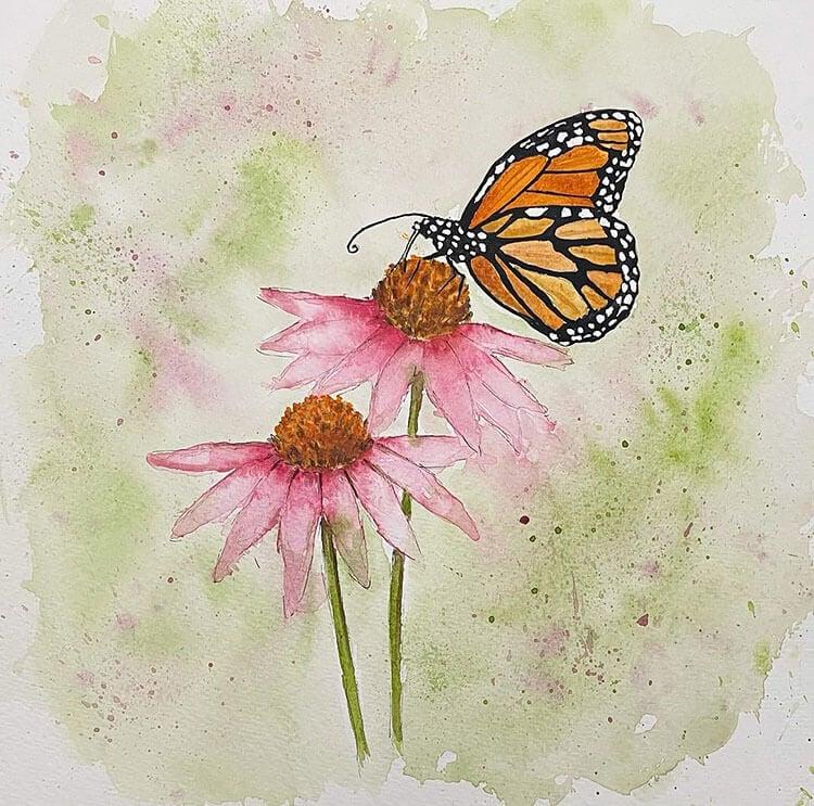 watercolor butterfly on flower