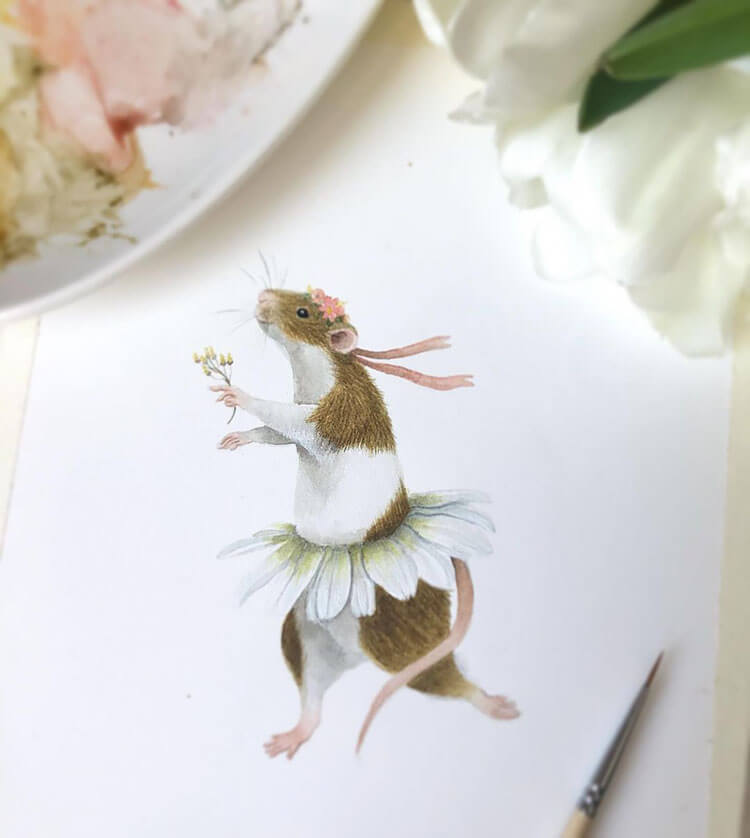 watercolor mouse with flower crown