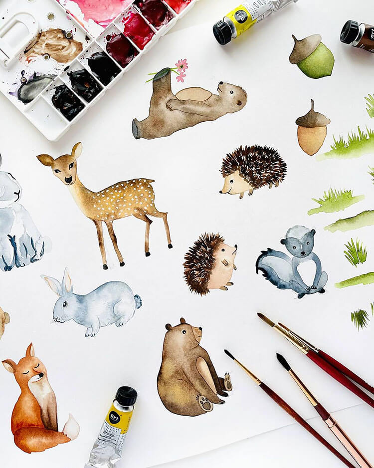 watercolor woodland animals