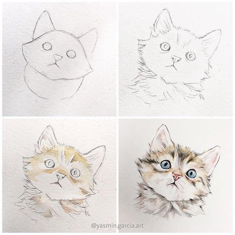 watercolor cat painting tutorial